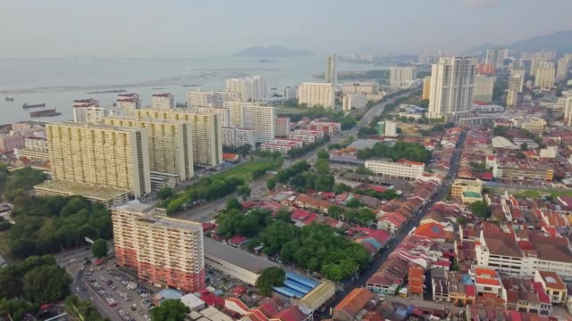 aerial view over george town, heritage penang located on the northwest coast of peninsular - penang stock videos and b-roll footage