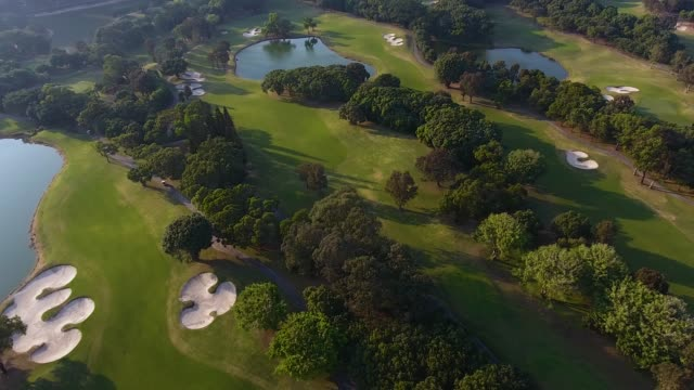 aerial view over golf field in shenzhen city. sunset time - green golf course stock videos and b-roll footage