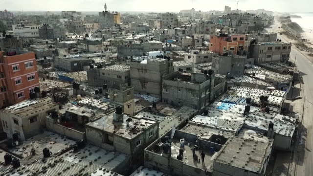 aerial view over houses in the gaza strip - gaza city stock videos & royalty-free footage
