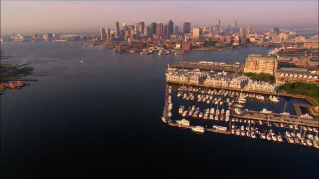 Aerial view over inner harbor towards downtown / Boston, Massachusetts