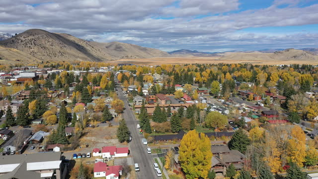 aerial view over jackson hole wyoming looking north - wyoming stock videos & royalty-free footage