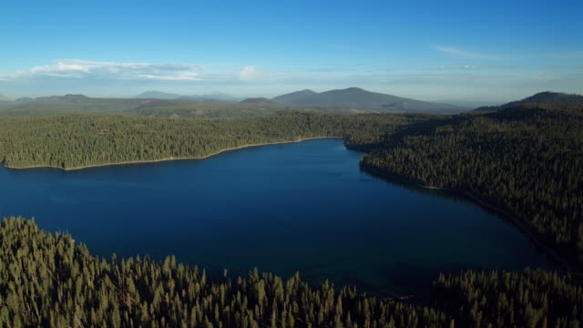 aerial view over juniper lake with mount lassen in the distance, lassen national volcanic park. - wilderness stock videos & royalty-free footage