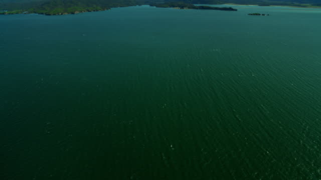vídeos de stock, filmes e b-roll de aerial view over kachemak bay alaska usa - eco tourism