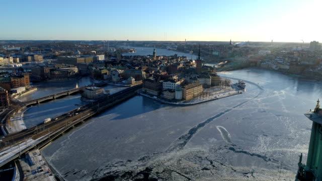 Flygfoto över Riddarholmen i Stockholm