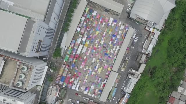 Aerial view over silent flea market