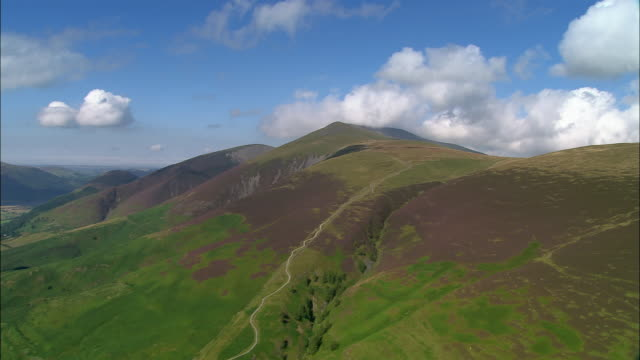 aerial view over skiddaw mountain in the lake district / cumbria, england - english lake district stock videos and b-roll footage
