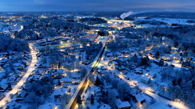 aerial view over small city - winter stock videos & royalty-free footage