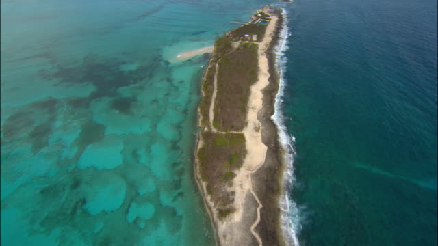 Aerial view over small island/ Bahamas