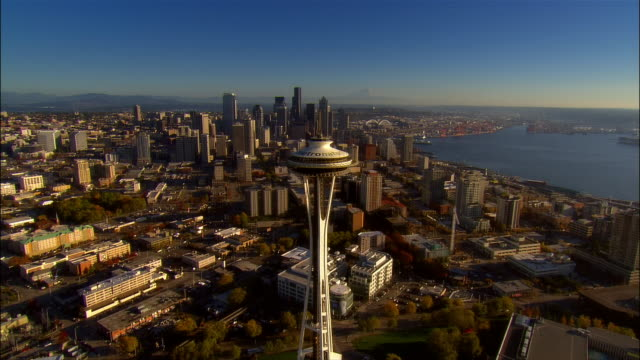 aerial view over space needle and downtown seattle / mount rainier in background / seattle, washington - mt rainier stock videos & royalty-free footage