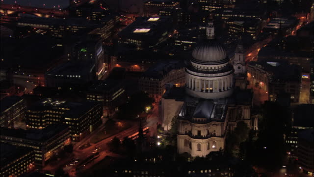 Aerial view over St. Paul's Cathedral at night / London, England
