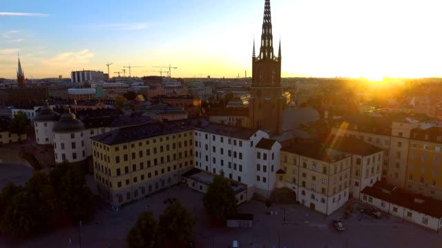aerial view over stockholm riddarholmen - stockholm stock videos & royalty-free footage