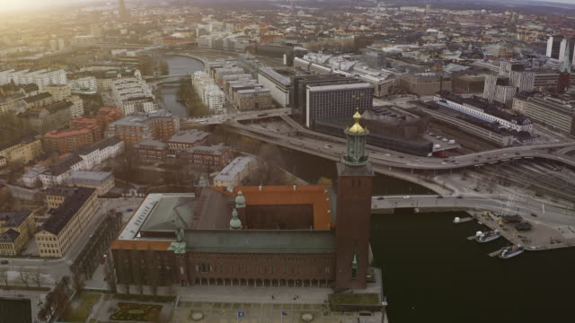 Aerial view over Stockholm Town Hall - Stock video