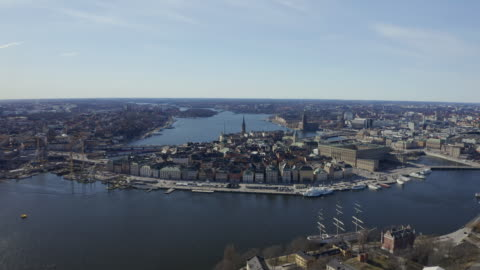 aerial view over stockholm town hall - stock video - high up stock videos & royalty-free footage