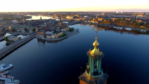 aerial view over stockholm town hall - high up stock videos & royalty-free footage