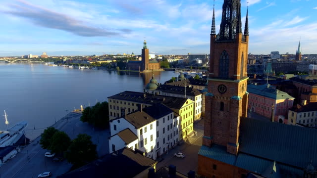 aerial view over stockholm town hall - old town stock videos & royalty-free footage