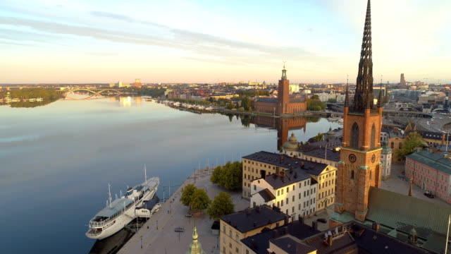 aerial view over stockholm town hall - drone point of view stock videos & royalty-free footage