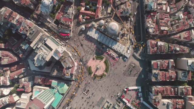 aerial view over taksim square. istanbul. turkey. - moschea video stock e b–roll