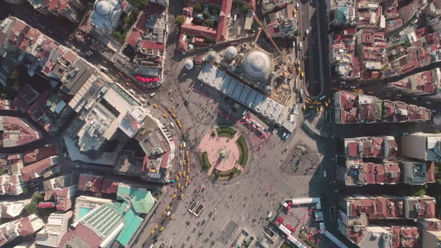 aerial view over taksim square. istanbul. turkey. - ankara stock videos and b-roll footage