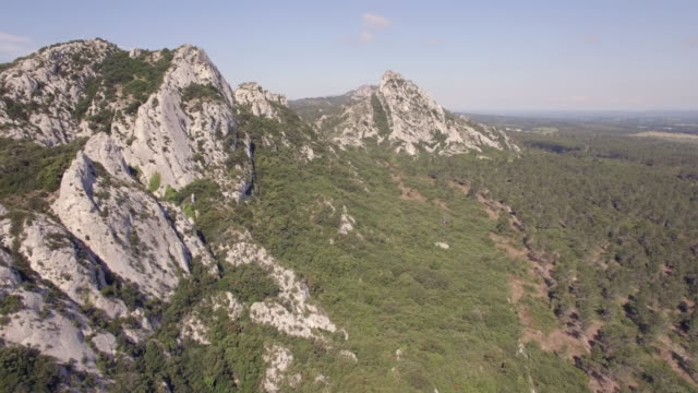 Aerial view WS over the Alpilles Mountains
