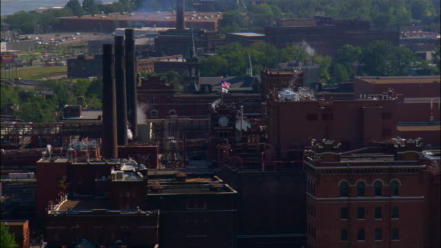 aerial view over the anheuser-busch brewery and packaging plant / st. louis, missouri - anheuser busch brewery missouri stock videos and b-roll footage
