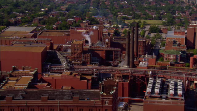 aerial view over the anheuser-busch brewery and packaging plant / st. louis, missouri - anheuser busch inbev stock videos and b-roll footage