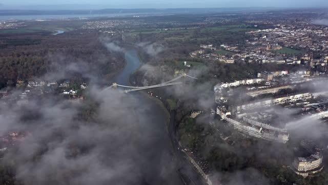 aerial view over the avon gorge and clifton suspension bridge, bristol, england - suspension bridge stock videos & royalty-free footage