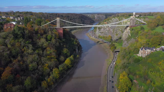 aerial view over the avon gorge and clifton suspension bridge, bristol, england - suspension bridge stock videos & royalty-free footage