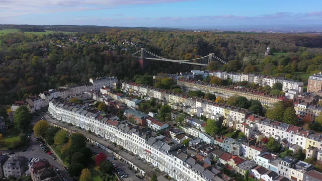 aerial view over the avon gorge and clifton suspension bridge, bristol, england - bristol england stock videos & royalty-free footage