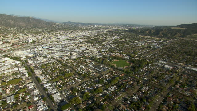 Aerial view over the city of Burbank, in Los Angeles County, California.