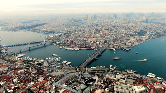 aerial view over the golden horn, horn-shaped estuary, the primary inlet on the bosporus, featuring a bustling commercial hub & parks-  istanbul, turkey - inlet stock videos & royalty-free footage