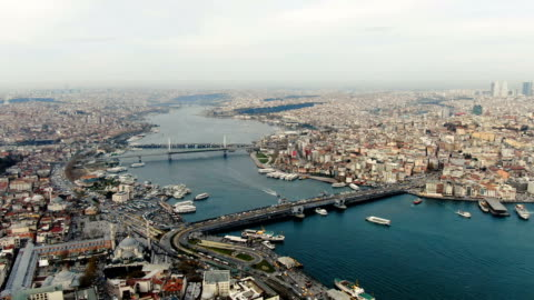 aerial view over the golden horn, horn-shaped estuary, the primary inlet on the bosporus, featuring a bustling commercial hub & parks-  istanbul, turkey - middle east stock videos & royalty-free footage
