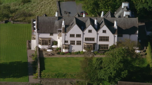 aerial view over the historic blackwell house in the lake district / cumbria, england - stately home stock videos and b-roll footage