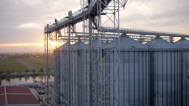 aerial view over the silo 4 - soya bean stock videos & royalty-free footage