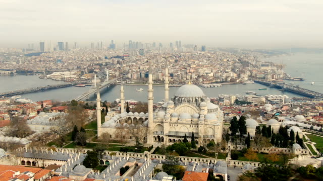 aerial view over the suleymaniye mosque-ornate 16th-century mosque with gardens, a restaurant & a terrace with views over the golden horn-  istanbul, turkey - istanbul stock videos & royalty-free footage