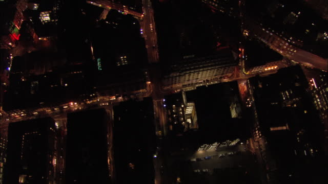 aerial view over the west end towards picadilly circus at night / london, englad - west end london stock videos and b-roll footage