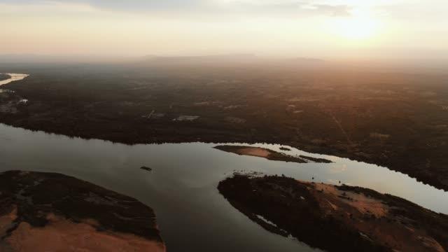 aerial view over the zambezi river, zambia - zambia stock videos & royalty-free footage