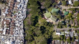 Aerial view over township in South Africa
