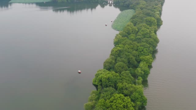 aerial view over west lake - luogo d'interesse locale video stock e b–roll