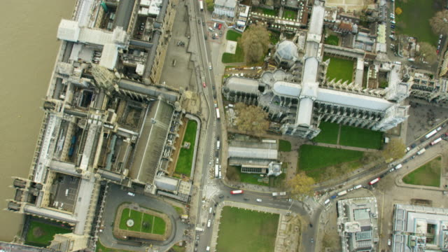 Aerial view over Westminster Abbey London UK