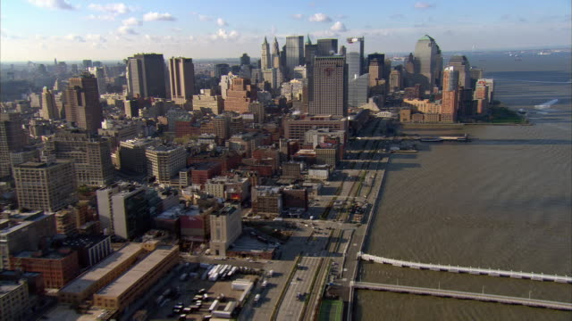 Aerial view over westside along Hudson River towards downtown Manhattan / New York City, New York