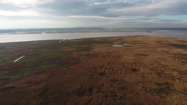 aerial view over whitton island - 1 minute or greater stock videos & royalty-free footage
