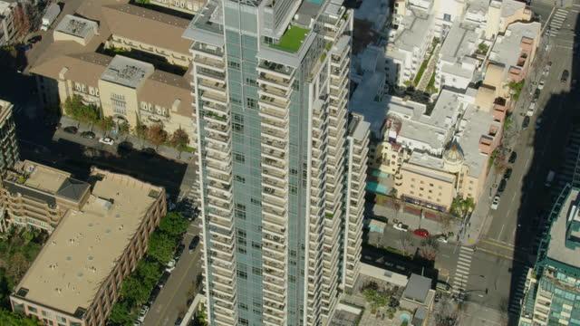 aerial view overhead san diego skyscraper condominiums california - san diego stock videos & royalty-free footage