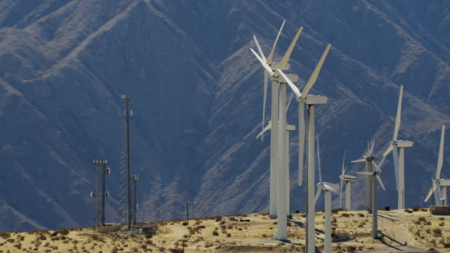 Aerial view Palm Springs wind turbine farm USA