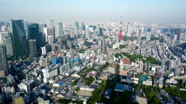 航空写真パン4k東京タワーと街並み - パン効果点の映像素材/bロール