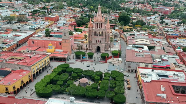 Aerial View Panning Above Town Square in Mexico
