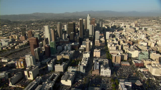 Aerial view panning across Downtown Los Angeles, California.