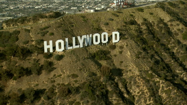 Aerial view panning over the famous Hollywood Sign in Los Angeles, California.