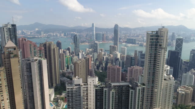 Aerial view panoramic of the Hong Kong City Skyline and Victoria Harbour at sunset at china