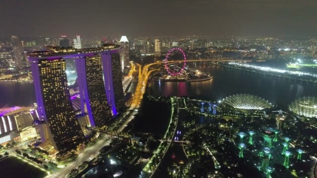 aerial view panoramic of the singapore skyline and marina bay, the marina is the centre of the economy in singapore, there are here all the building of all the majors bank and insurance. - river singapore stock videos & royalty-free footage
