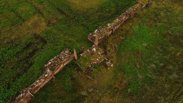 Aerial view. Panoramic survey of the burial site. The shaman performs the ritual alone.
